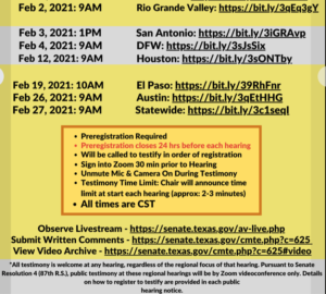 Links to register: https://senate.texas.gov/.../Regional-Hearing-Schedule... Instructions for how to register to present testimony virtually can be found on the Texas Legislature's website here: https://capitol.texas.gov/Committees/MeetingsByCmte.aspx...